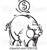 Swine Clipart of Black and White Woodcut Piggy Bank with a Dollar Coin by Xunantunich