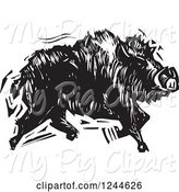 Swine Clipart of Black and White Woodcut Running Boar by Xunantunich