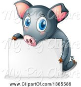 Swine Clipart of Black Pig Behind a Blank Sign by Graphics RF