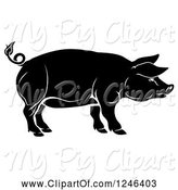 Swine Clipart of Black Pig in Profile by AtStockIllustration