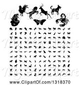 Swine Clipart of Black Silhouetted Animals and Insects by AtStockIllustration