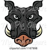 Swine Clipart of Black Tusked Boar Head by Vector Tradition SM