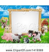 Swine Clipart of Blank Sign Board Surrounded by Farm Animals, with a House in the Background by AtStockIllustration