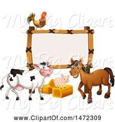 Swine Clipart of Blank Sign with a Chicken, Cow, Pig, and Horse by Graphics RF