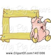 Swine Clipart of Blank Wood Frame with a Pig by Dero