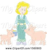 Swine Clipart of Blond Female Farmer Tending to Her Pigs by Alex Bannykh