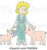 Swine Clipart of Blond White Female Farmer Tending to Her Pigs by Alex Bannykh