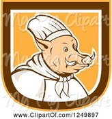 Swine Clipart of Boar Chef in a Brown White and Orange Shield by Patrimonio
