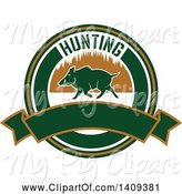 Swine Clipart of Boar Hunting Design by Vector Tradition SM
