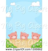 Swine Clipart of Border of a Cute Pigs Looking over a Fence by BNP Design Studio