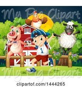 Swine Clipart of Boy Playing with a Chicken, Sheep and Pig by Graphics RF