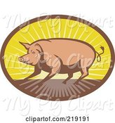 Swine Clipart of Brown and Yellow Pig and Sunrise Logo by Patrimonio