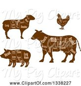 Swine Clipart of Brown Silhouetted Cow, Chicken, Sheep, and Pig Showing Cuts of Meat and Text 2 by Vector Tradition SM