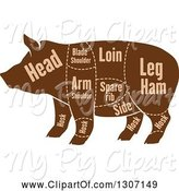Swine Clipart of Brown Silhouetted Pig with Labeled Pork Cuts 2 by Vector Tradition SM