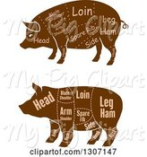 Swine Clipart of Brown Silhouetted Pigs with Labeled Pork Cuts by Vector Tradition SM