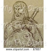 Swine Clipart of Brown Sketch of Freyr and a Boar by Patrimonio