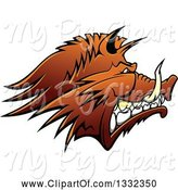 Swine Clipart of Brown Snarling Vicious Razorback Boar Mascot Head in Profile by Vector Tradition SM