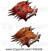 Swine Clipart of Brown Snarling Vicious Razorback Boar Mascot Heads in Profile by Vector Tradition SM