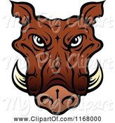 Swine Clipart of Brown Tusked Boar Head by Vector Tradition SM