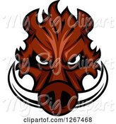 Swine Clipart of Brown Vicious Boar Mascot Head by Vector Tradition SM