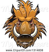 Swine Clipart of Brown Vicious Razorback Boar Mascot Head 2 by Vector Tradition SM