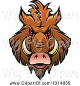 Swine Clipart of Brown Vicious Razorback Boar Mascot Head 4 by Vector Tradition SM