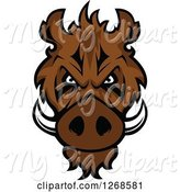 Swine Clipart of Brown Vicious Razorback Boar Mascot Head by Vector Tradition SM