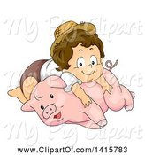 Swine Clipart of Brunette White Toddler Farmer Boy Resting on a Pig by BNP Design Studio
