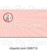 Swine Clipart of Butcher Pig Holding a Cleaver and Pink Ray Business Card Design by Patrimonio