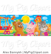 Swine Clipart of Butterflies Flying near a Bear, Pig, Chicken and Cat Standing by a Rail Car by Alex Bannykh