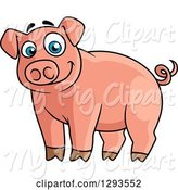 Swine Clipart of Cartoon Alert Happy Blue Eyed Pink Pig by Vector Tradition SM