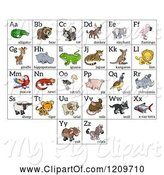Swine Clipart of Cartoon Alphabet Letters with Animals by AtStockIllustration