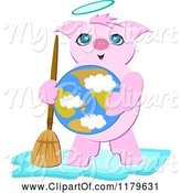 Swine Clipart of Cartoon Angel Pig Holding a Broom and Earth by
