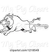 Swine Clipart of Cartoon Angry Outlined Wild Pig Boar Running by LaffToon