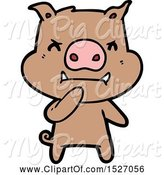 Swine Clipart of Cartoon Angry Pig by Lineartestpilot
