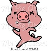 Swine Clipart of Cartoon Angry Pig Charging by Lineartestpilot
