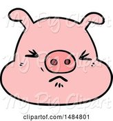 Swine Clipart of Cartoon Angry Pig Face by Lineartestpilot