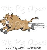 Swine Clipart of Cartoon Angry Wild Pig Boar Running by LaffToon