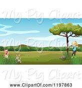 Swine Clipart of Cartoon Archery Girl and a Pig and Rabbit by Graphics RF