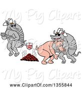 Swine Clipart of Cartoon Armadillo Cowboys Branding a Pig with I Love Bbq by LaffToon