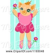 Swine Clipart of Cartoon Ballerina Pig with Flowers over Blue Stripes by