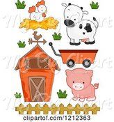 Swine Clipart of Cartoon Barn Chicken Cow Pig and Wagon by BNP Design Studio