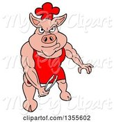 Swine Clipart of Cartoon Bbq Chef Buff Pig Holding Tongs and Flexing His Muscles by LaffToon