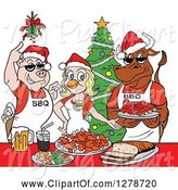 Swine Clipart of Cartoon Bbq Chef Cow Pig and Female Chicken with Food Under Mistletoe at a Christmas Party by LaffToon