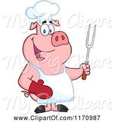 Swine Clipart of Cartoon Bbq Chef Pig Holding a Fork by Hit Toon