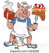 Swine Clipart of Cartoon Bbq Chef Pig with a Goatee, Holding up a Steak and Hot Ribs over a Chicken by LaffToon