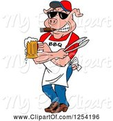 Swine Clipart of Cartoon Bbq Pig Chef Holding Tongs, Wearing Sunglasses, Smoking a Cigar and Holding a Beer by LaffToon