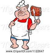 Swine Clipart of Cartoon BBQ Pig Chef Holding up Ribs with Tongs by LaffToon