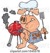 Swine Clipart of Cartoon Bbq Pig Wearing a Pig out Apron by Toonaday