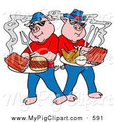 Swine Clipart of Cartoon BBQ Pigs Posing with Cooked Ribs, Pulled Pork Burgers and Poultry on Platters by LaffToon